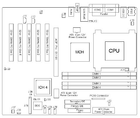 Fujitsu-Siemens-Mainboard D1356 Layout: