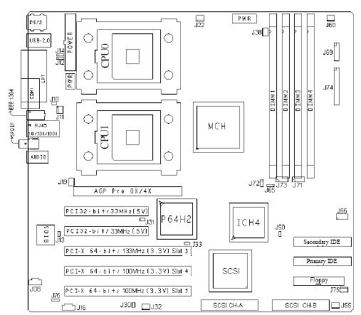 Fujitsu-Siemens-Mainboard D1357 Layout: