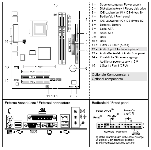 Fujitsu-Siemens-Mainboard D1961 Layout: