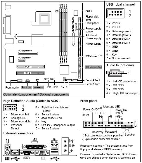 Fujitsu-Siemens-Mainboard D2030 Layout: