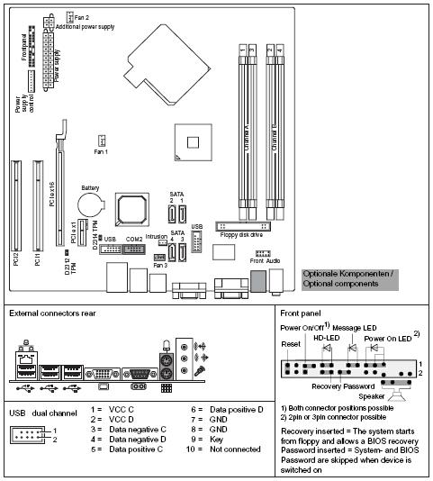 Fujitsu-Siemens-Mainboard D2312 Layout: