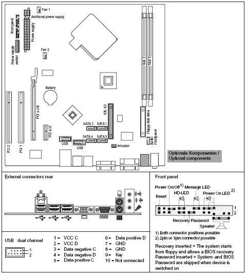 Fujitsu-Siemens-Mainboard D2451 Layout: