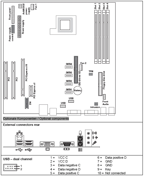 Fujitsu-Siemens-Mainboard D2461 Layout:
