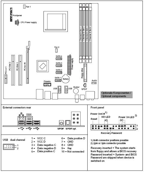Fujitsu-Siemens-Mainboard D2470 Layout: