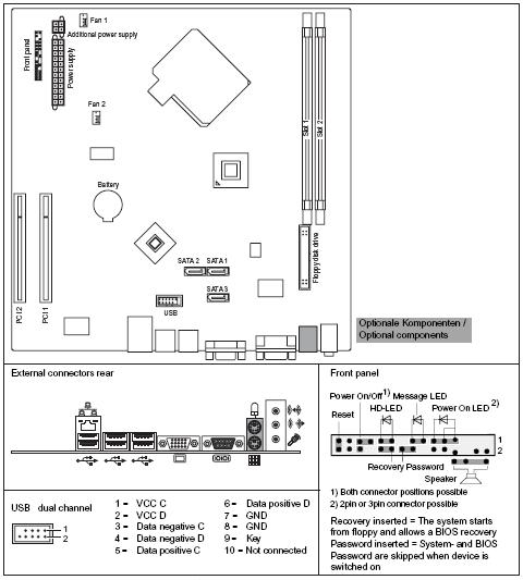 Fujitsu-Siemens-Mainboard D2480 Layout: