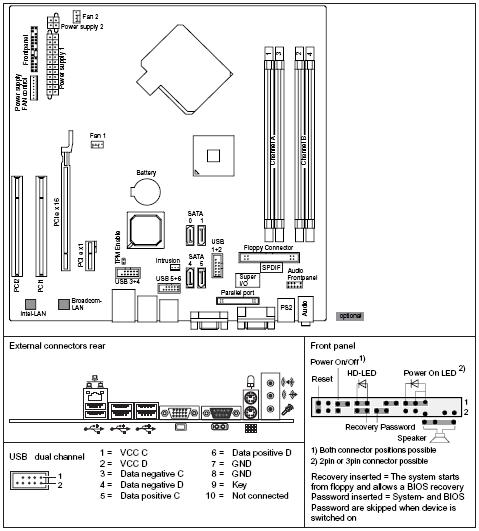 Fujitsu-Siemens-Mainboard D2581 Layout: