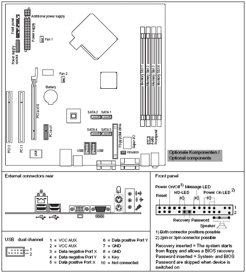 Fujitsu-Siemens-Mainboard D2610 Layout:
