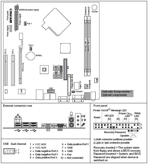 Fujitsu-Siemens-Mainboard D2660 Layout: