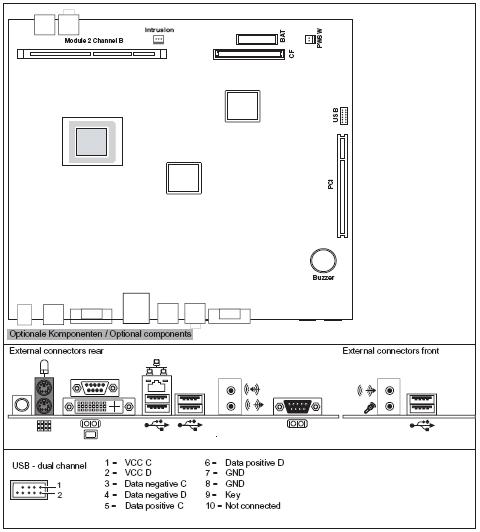 Fujitsu-Siemens-Mainboard D2703-A Layout: