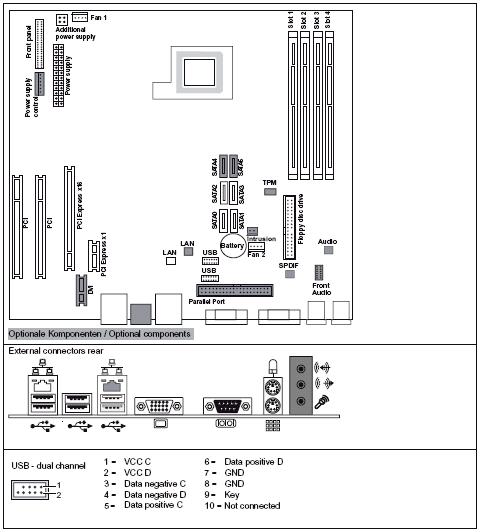 Fujitsu-Siemens-Mainboard D2721 Layout: